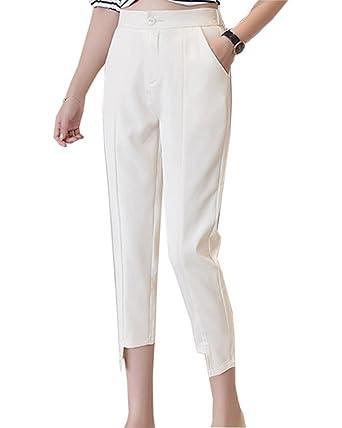 777fafa7b41b Pantalon Femme Pantalon Cigarette Taille Haute Chino Pantalon Droit Pantalon  Classique Bureau Pantalon Blanc S
