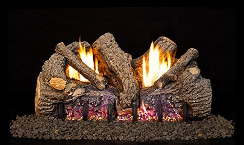 Peterson Real Fyre 18-inch Foothill Oak Log Set With Vent-free Natural Gas Ansi Certified G19 Burner - Electronic Non-standing Pilot And Variable Flame Remote ()