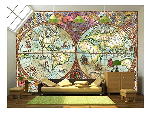 wall26 - Illustration - Vintage Illustration with World Atlas Map on Antique Paper. Pirate Adventures - Removable Wall Mural | Self-Adhesive Large Wallpaper - 100x144 inches by wall26 (Image #5)