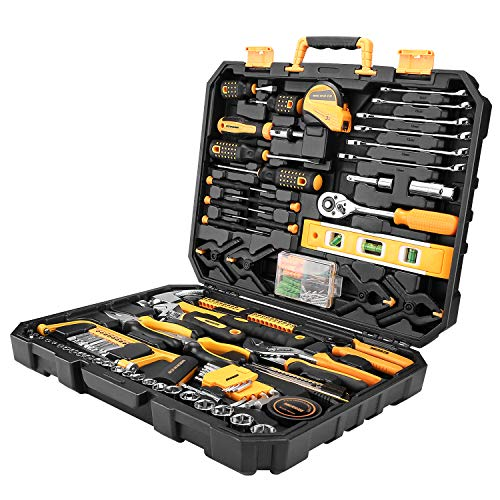 MERRCO 168-Piece Household Tool Kit, General Auto Repair Tool Set with Pliers, Screwdriver Set, Wrench Socket Kit with Plastic Toolbox Storage Case