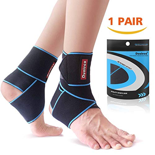 Ankle Brace 1 Pair,Adjustable Ankle Brace Support for Women/Men/Kids, Elastic Compression Ankle Wrap, Lace Up Ankle Brace Support for Sprained Ankle, Achilles Tendon, Sports, Running by Dualeco