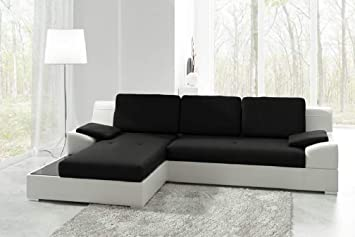 Left Corner Sofa Bed Martin in Black & White with Storage ...