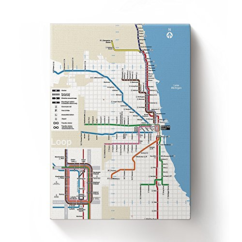 (ALAGO Wall Arts-Classic Chicago Subway Map Giclee Canvas Prints Gallery Wrapped Modern Artworks Modern Pictures Paintings for Home Decor Framed,Ready to Hang)