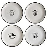 SOCOSY Cute Cartoon Cat Ceramic Sauce Dish Seasoning Dish Sushi Soy Dipping Bowl Appetizer Plates Serving Dish for Kitchen 5''(Set of 4)
