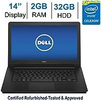 Dell Inspiron 14-inch HD (1366 x 768) LED-Backlit Display Laptop PC, Intel Celeron 1.6GHz, 2GB RAM, 32GB eMMC, HDMI, WiFi, Bluetooth, MaxxAudio Pro, Windows 10 - Black (Certified Refurbished)
