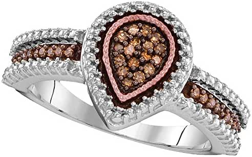 Sterling Silver & Rose Tone Brandy Diamond Chocolate Brown Stunning Teardrop Fine Design Ring 1/6 Cttw