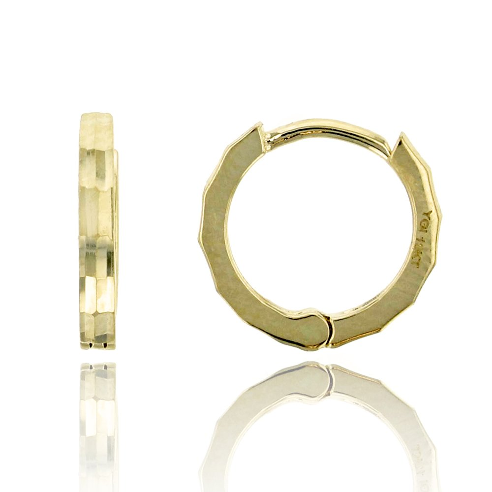 10K Yellow Gold High Polished 1.30x10.00mm Huggie Earring