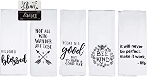 Cute Kitchen Towels Set | Fun Dish Towels with Bee Kind Blessed Good Day Theme | 5 Flour Sack Kitchen Towels White Cotton