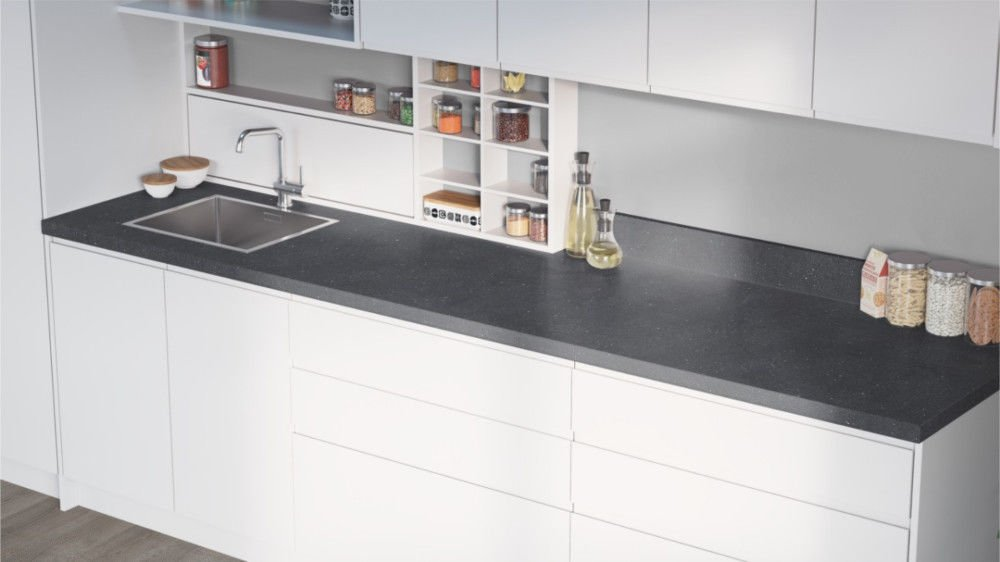 Egger Cosmic Grey Effect Square Edge Laminate Kitchen Worktops - 40mm Offcut Bathroom Work Surface 38mm Breakfast Bar - 1m x 650mm x 38mm Worktop