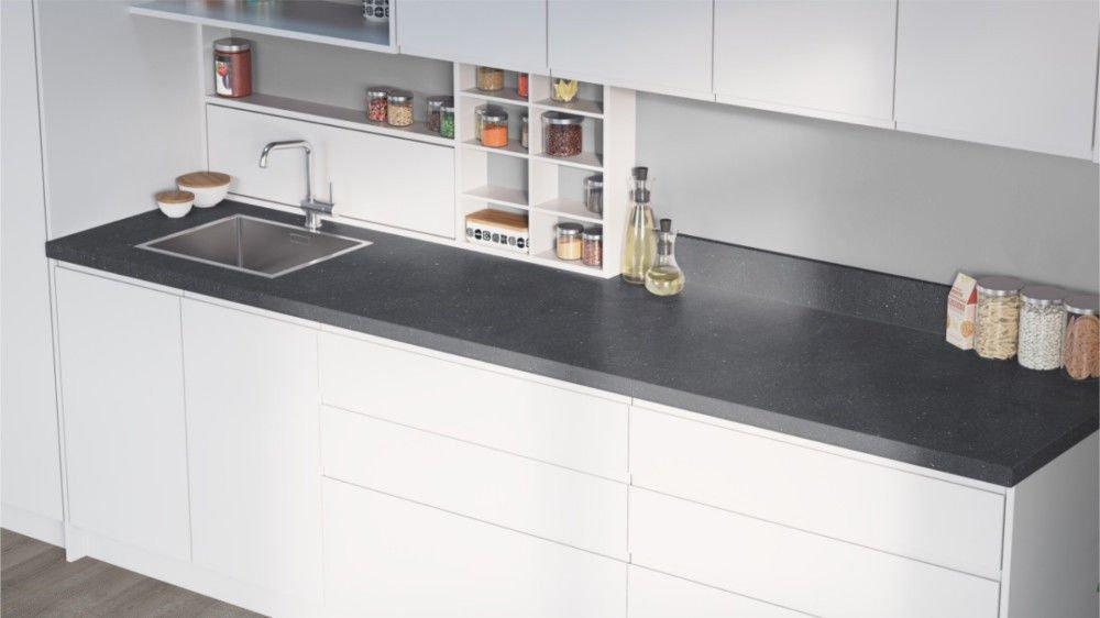 Egger Cosmic Grey Effect Square Edge Laminate Kitchen Worktops - 40mm Offcut Bathroom Work Surface 38mm Breakfast Bar - 1m x 650mm x 38mm Worktop