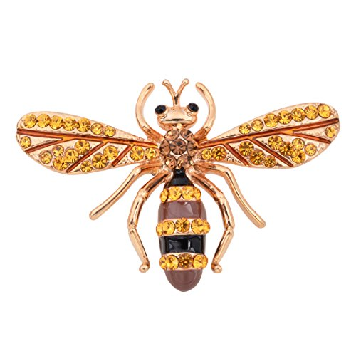 Gold Bee Pin - OBONNIE Vintage Gold Tone Little Enamel Honey Bee Pin Brooch Collar Pin Badge with CZ Rhinestone(Gold)