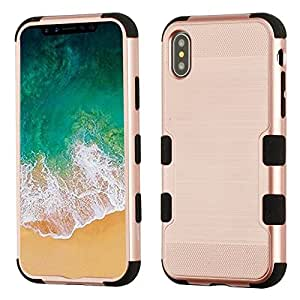 iPhone X Case, Mybat Tuff Dual Layer [Shock Absorbing] Protection Hybrid Brushed PC/TPU Rubber Case Cover For Apple iPhone X, Rose Gold/Black