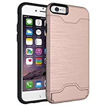 iPhone 6S Case, iPhone6 Cases, XinSop Business Impact Resistant Hard Protective Shell Hidden Credit Card Slots Holder Wallet Case Cover for Apple iPhone 6/6S - Rose Gold