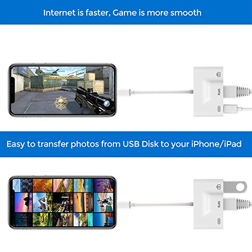 Lightning to RJ45 Ethernet LAN Wired Network Adapter, Lightning Ethernet Adapter, Lightning to USB Camera Adapter, Charging & Data Sync OTG Adapter Compatible iPhone/iPad, Required iOS 10.0 up by RayCue (Image #3)
