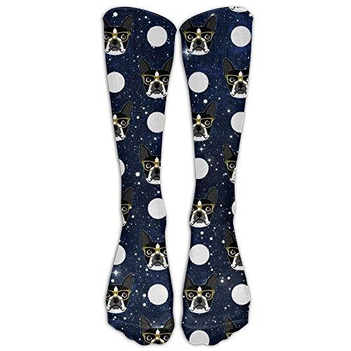 Nsjgufb Logan Boston Terrier Polka Dots Dog Print Soft Casual Fashionable Long Knee High Socks Stockings (full - Boston Logan Shops