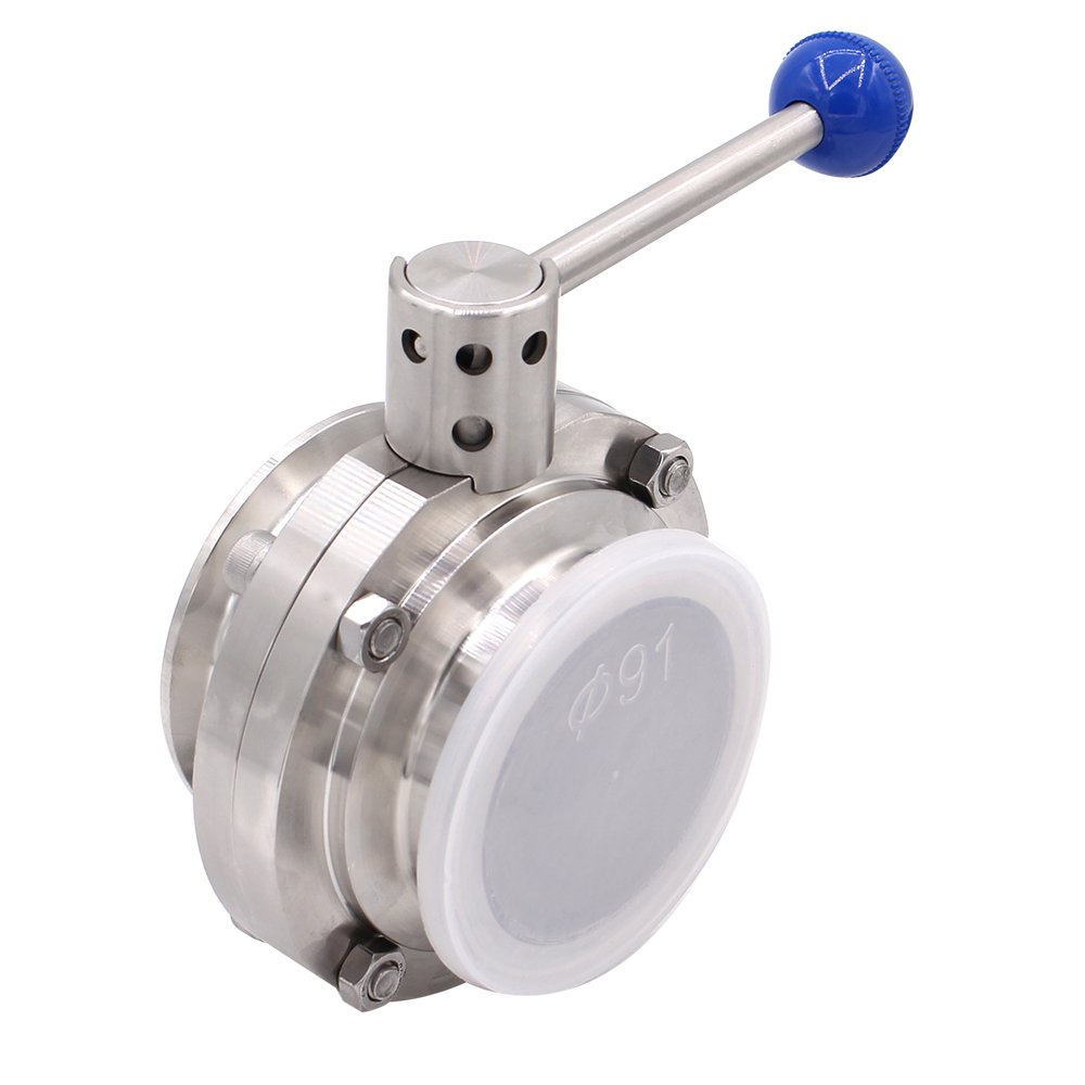 Dernord Sanitary Butterfly Valve with Pull Handle Stainless Steel 304 Tri Clamp Clover (3'' Tube OD)