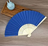 Deep Blue Mulit Colors Bamboo&Paper Pocket Fan Folding Hand Held Fans Abanicos Para Boda Leques De Casamento