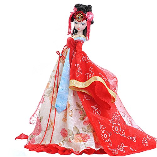 (PANDA SUPERSTORE Chinese Ancient Bride Red Wedding Dress Doll, Tang Dynasty)