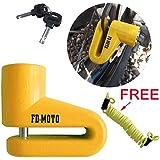 FD-MOTO FD109 Bike Bicycle Motorbike Motorcycle Brake Disc Lock + Free Reminder Cable 1.4Meter