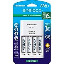 Panasonic K-KJ17M3A4BA - Cargador (AA,AAA, Níquel-Metal hidruro (NiMH), Blanco, Cargador de baterías para Interior, 100-240 V, AAA)