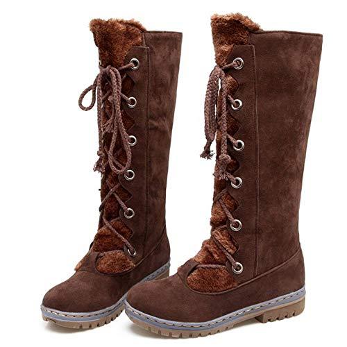 Brown Neve Donna Karzi Inverno Polpaccio Stivali Met¨¤ Da Caldo Kaizi Rq76zf
