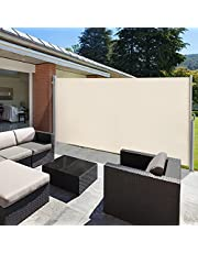 """VINGLI 63"""" x 118"""" Side Awning, Patio Retractable Side Screen Awning, Screen Fence Privacy Divider, Beige"""