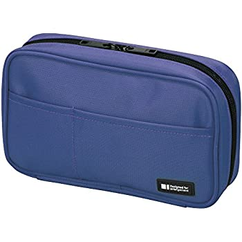 LIHIT LAB Pen Case, Blue, 4.7 x 7.9 inches (A7551-108)