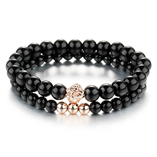 Blue Pearls Black Onyx Natural Gemstones Stretch Double Bracelet and Rose Gold Lion Head - BPS 0958 Y BPS 0958 Y -
