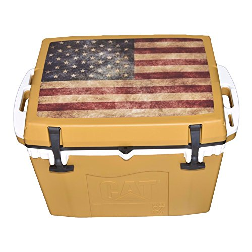 Caterpillar Cat Cooler with American Flag Lid Graphic, Cat Yellow, 27 - Cat Flag American