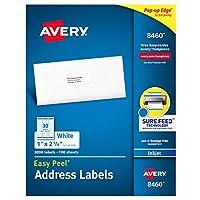 """Etiquetas de direcciones Avery con alimentación segura para impresoras de inyección de tinta, 1 """"x 2-5 /8"""", 3,000 etiquetas, adhesivo permanente (8460), blanco"""