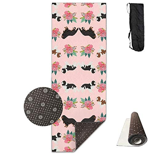 Cavalier King Charles Spaniel Pink Florals Floral Dog,Yoga Towel Exercise Mat Non-Slip High Density Waterproof Yoga Mats Fitness ()