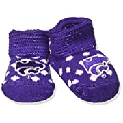 Two Feet Ahead NCAA Kansas State Wildcats Infant Polka Dot Gift Box Booties, New Born, Purple/White
