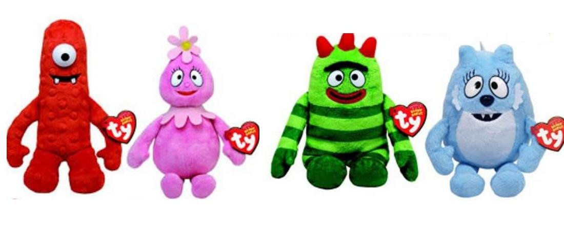 new yo gabba gabba 5 ty plush beanie babies set of 4 muno