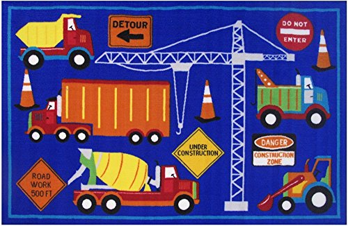 Navy Blue Truck (Homemusthaves Navy Blue Construction Site Trucks Vehicles Signs Kids Boys Girls Children Area Rug Carpet (39