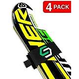 4 Pack of Adjustable Fastening Ski Straps | Black