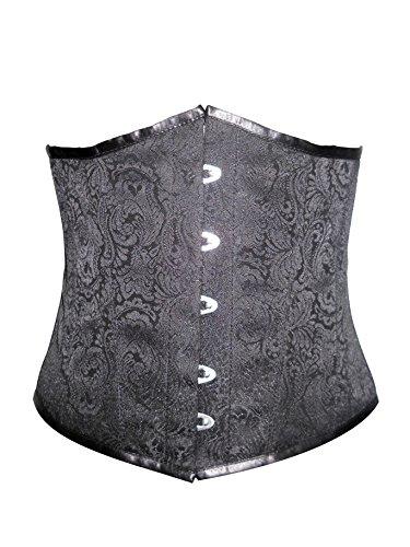 敬意を表する研究階層Black Brocade Gothic Burlesque Waist Cincher Bustier Underbust Corset Costume?