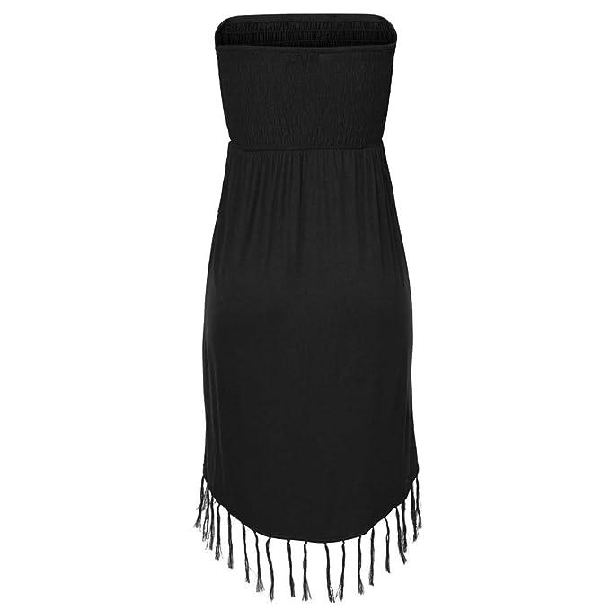 2019 Casual Fashion Summer Wrap Dress for Ladies UK Plus Size 8-14 Womens Beach Solid Tassel Strapless Mini Dress