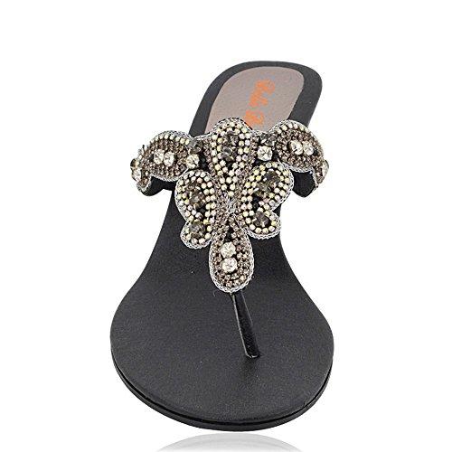 Essex Glam Dames Slip-on Neus Post Sparkly Diamante Synthetische Dressy Sleehak Sandalen Zwart