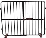 Crown Pet Products 31-Inch High Flexi Fit Pressure Mounted Extra Tall Pet Gate, Fits Openings 28'' to 40'', Dark Bronze/Brown Finish