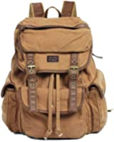 Vintage Canvas Leather Travel Rucksack Military Backpack - Serbags