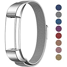 """Fitbit Alta HR and Alta Bands Metal Small & Large (5.5"""" - 9.9""""), Swees Milanese Stainless Steel Replacement Band for Fitbit Alta HR and Alta Women Men, Silver, Black, Rose Gold, Colorful, Champagne"""