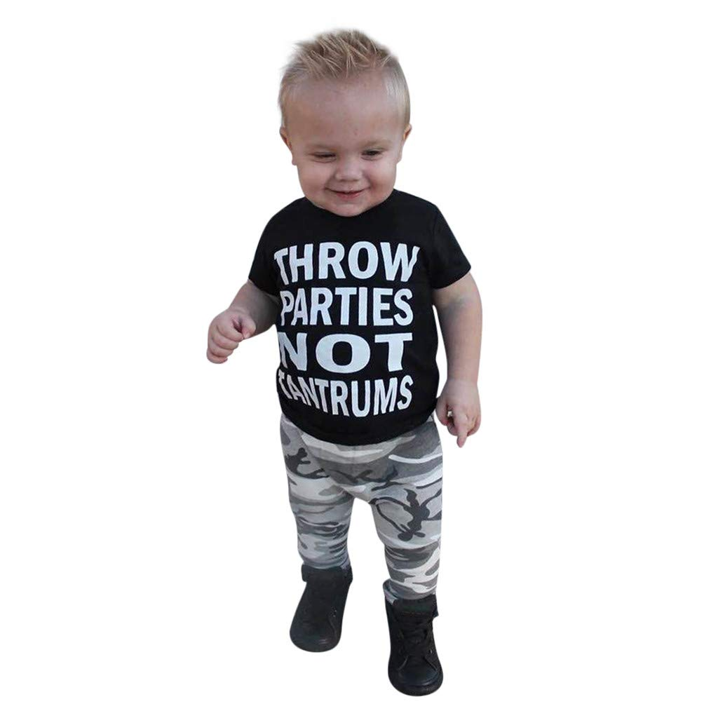 1-6years Baby Boys Outfits, 2019 Toddler Kids Summer Letter Print Clothes T-Shirt+Camouflage Pants Set (Age:4-5 Years, Black)