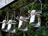 Set of 4 Mini Hanging Lantern Light Candle Holder Vases with Twine Wrap by Mountain Woman Products