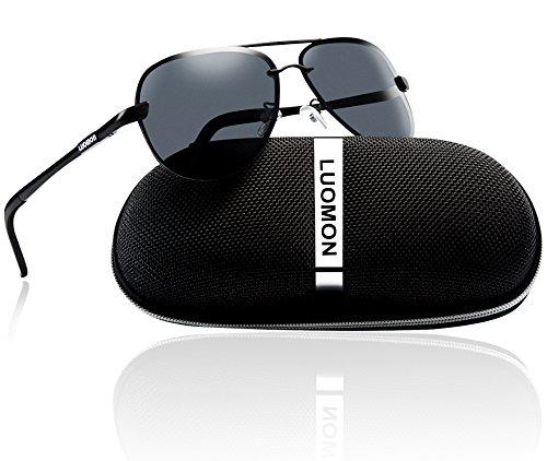 Polarized Sunglasses Black Frame (LUOMON Men's Polarized Aviator Sunglasses Metal Black Frame/Grey Lens with Al-Mg Aloy Temple LM007)