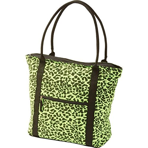 Neon Green Leopard Print Shopping Tote Purse Shoulder Diaper Bag Travel Carry (Diaper Bag Green Camouflage)