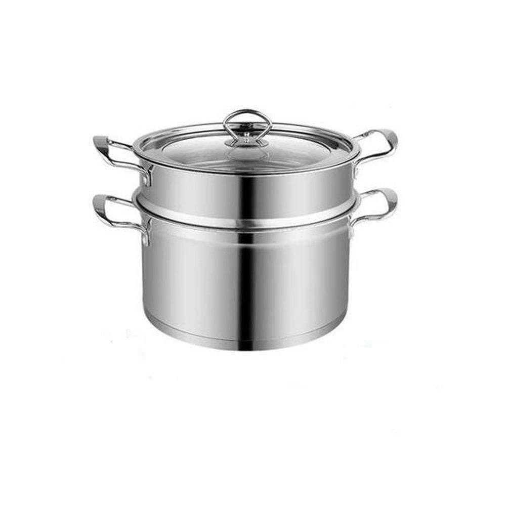 ふた付きのステンレス鋼スープ鍋、フードポットの調理に適した、様々なサイズで利用可能9.6インチ最高5.6インチ - 銀 (Size : 26cm) 26cm  B07RJQ1RBX