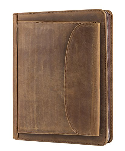 Vintage Crazy-Horse Portfolio Business Organizer Genuine Leather Padfolio Case with A4-Sized Notepad, Zipper Closure (Non-Custom, Brown)