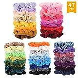 SEVEN STYLE 47 Pcs Premium Velvet Hair Scrunchies Hair Bands Scrunchy Hair Ties Ropes Scrunchie for Women or Girls Hair Accessories (47 Pcs Premium Velvet Hair Scrunchies)