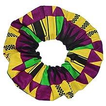 African Print Scrunchies Purple Yellow