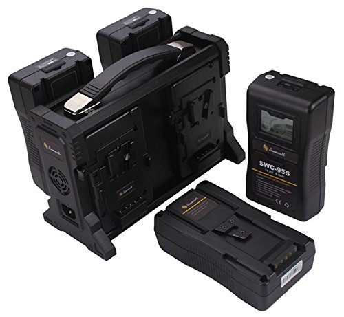SOONWELL 4 Slot V Mount Li-ion Battery Quad Charger with DC Output for Sony Red DSLR Camera by SOONWELL